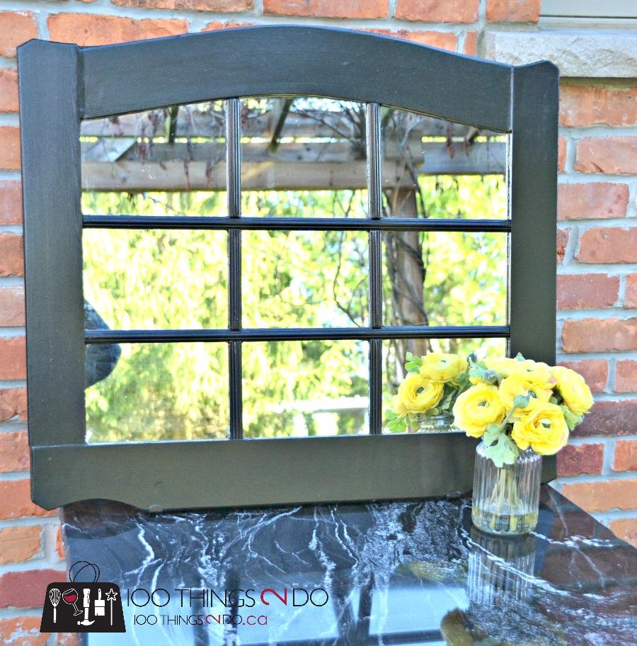 DIY Garden mirror, garden mirror, decorating your garden with mirrors, repurposed mirror, repurposed dresser mirror, Rustoleum