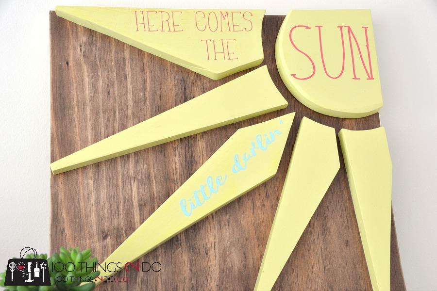 Scrap wood sign, scrap wood project, Here comes the sun, wood sign, diy wood sign, easy wood sign, scrapwood