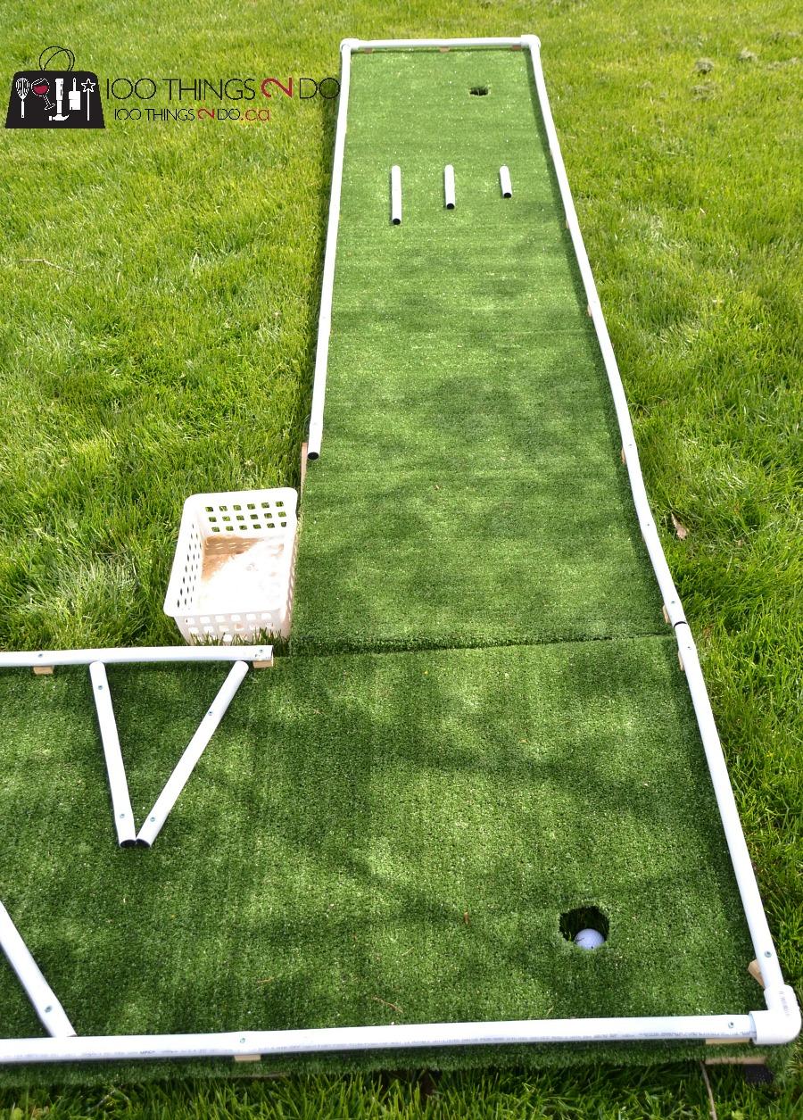 DIY mini golf, mini-golf, mini-putt, DIY mini-putt, backyard games, backyard fun, DIY backyard games