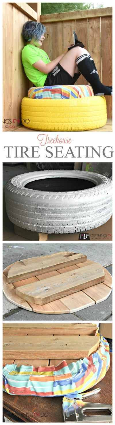 Tire project, repurposed tire, how to use an old tire, tire seating, how to paint a tire