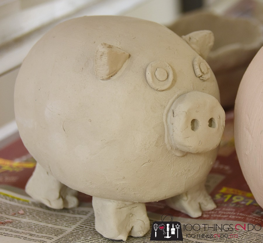 learning pottery, pinch pot, pottery pig, pinch pot pig