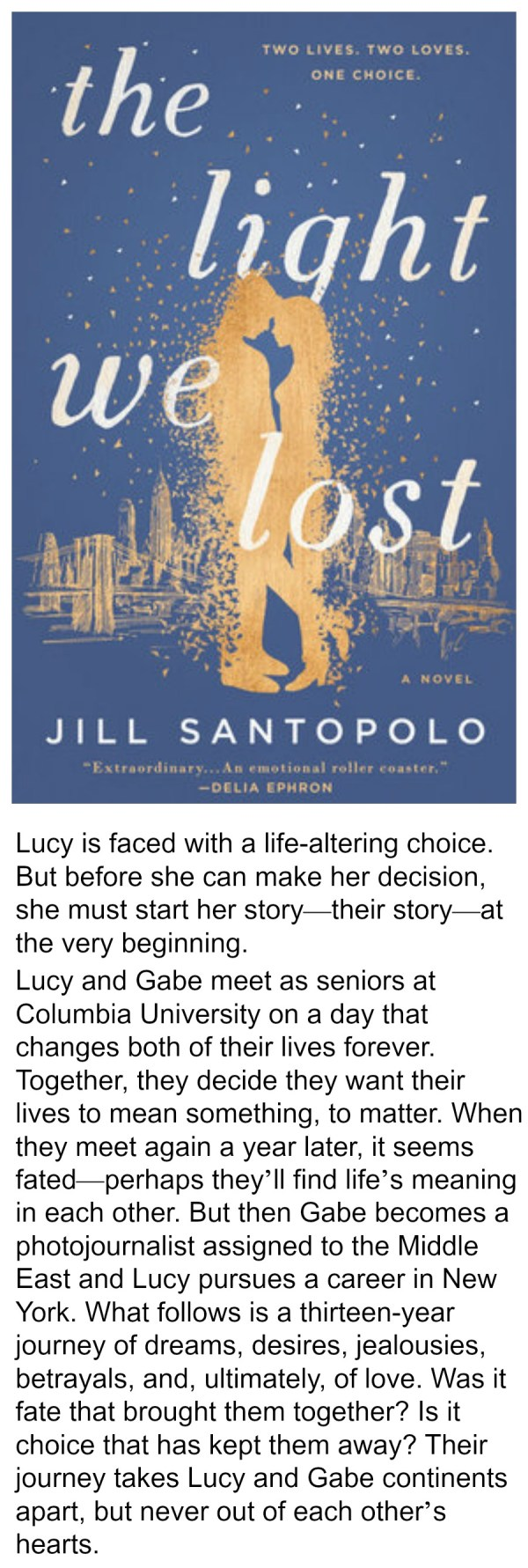 The Light We Lost, Jill Santopolo, summer reading, best books of 2017, summer reading 2017, love story, fiction