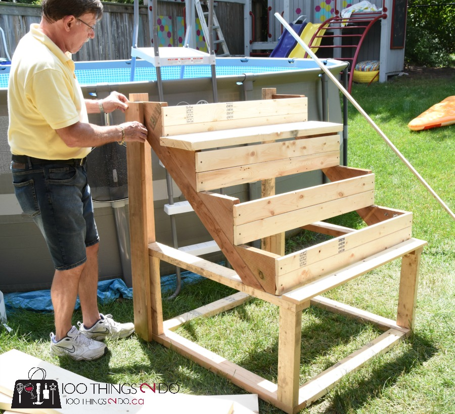 Diy above ground pool ladder stairs 100 things 2 do for Building a pool