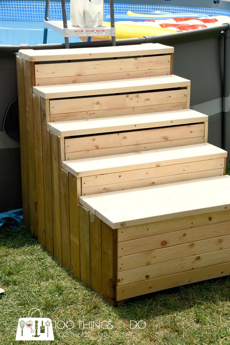 how to build above ground pool stairs intex pool stairs diy pool ladder