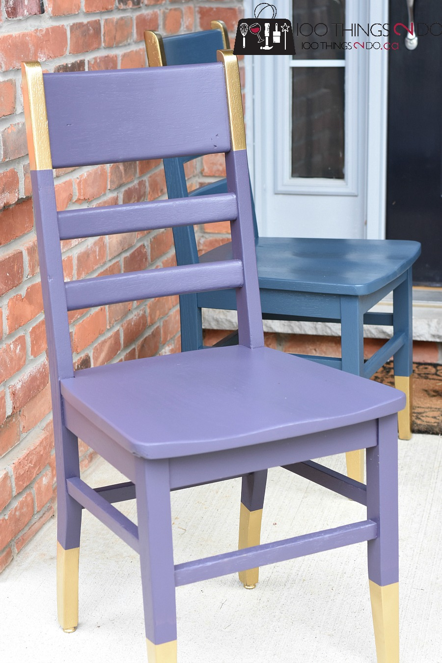 Chair makeover, wood chair, painted chair, refinished chair, gold dip, desk chair
