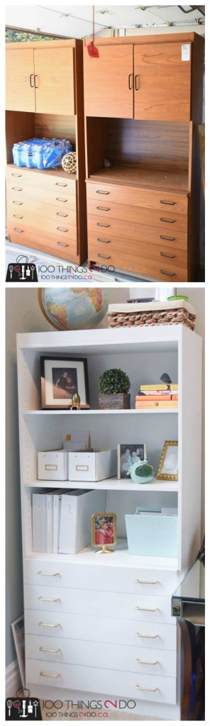 Bookshelf makeover, painted bookshelves, white bookshelves, office storage, office shelving, white bookshelves