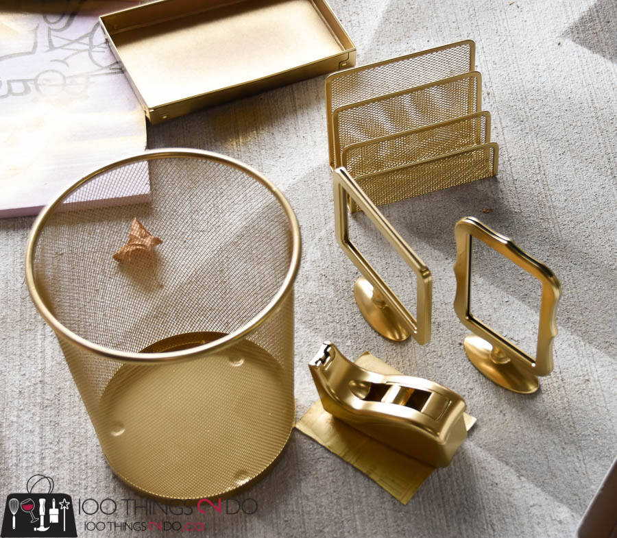 desk accessories, gold desk accessories, diy gold desk accents, office supplies, gold office supplies, accessorizing your home office