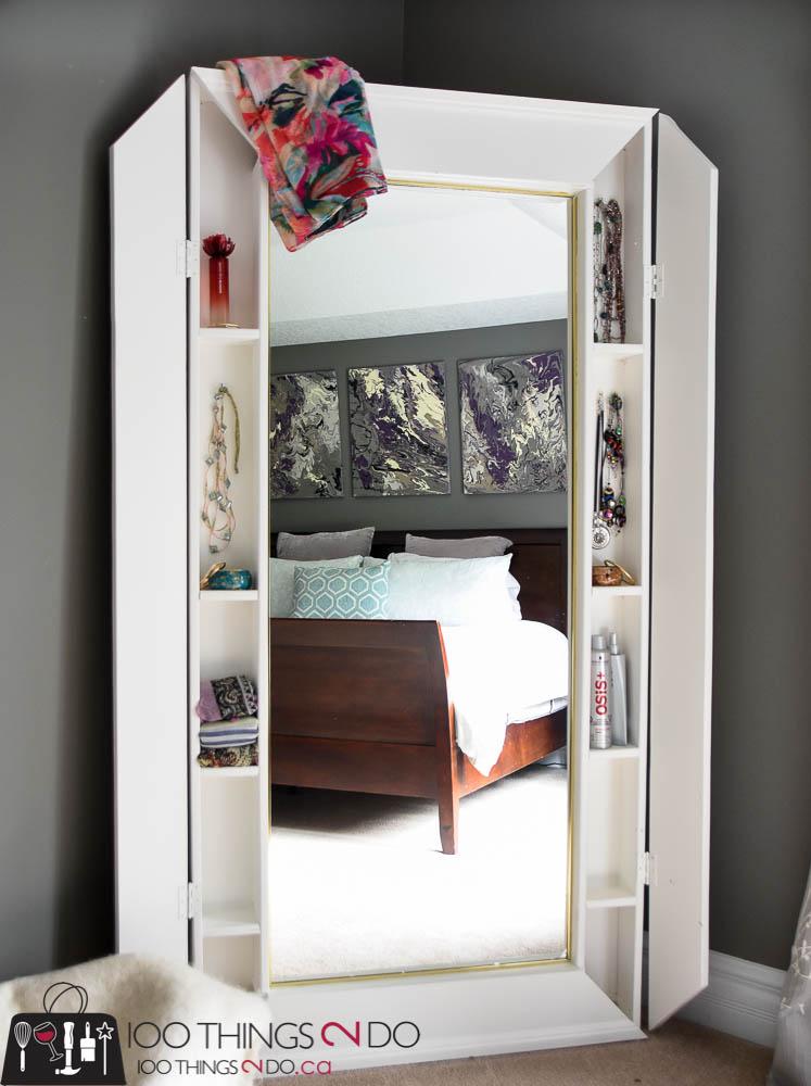DIY Floor Mirror, floor mirror with storage, mirror with storage, mirror with cabinet, full-length mirror
