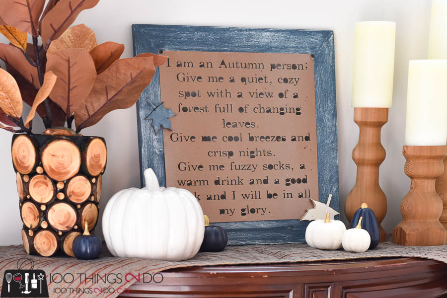 Branch slice vase, Fall vignette, branch slice decor, using branches in your decor, log slice decor, Fall decor, Fall DIY, Autumn decor, wood slice project