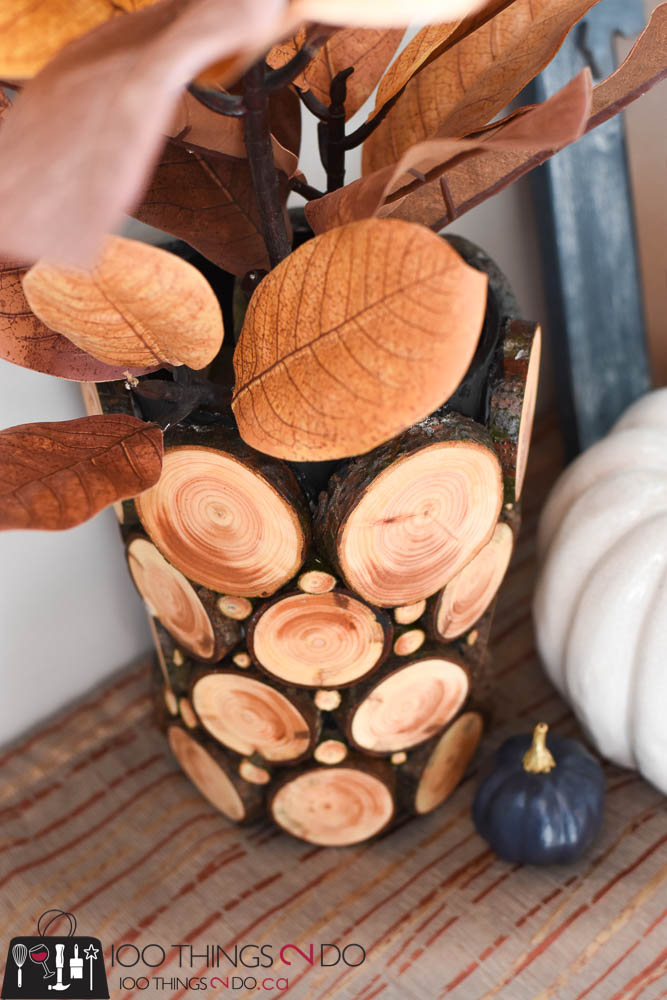 Branch slice vase, branch slice decor, using branches in your decor, log slice decor, Fall decor, Fall DIY, Autumn decor, wood slice project