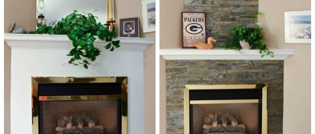 Fireplace surround, Aspect Peel & Stick Tile, stone fireplace surround, stone fireplace, how to change up your fireplace, adding stone to your fireplace, DIY fireplace surround