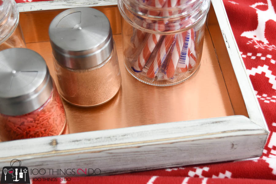 Hot cocoa bar, hot chocolate bar, DIY copper tray, DIY hot cocoa tray, copper tray, M-D Building products, sheet metal projects
