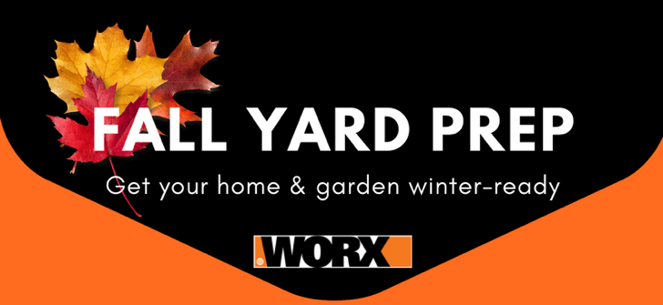 Fall yardwork, Fall yard cleanup, Prepping your yard for winter, winterizing your yard, WORX Tools, WORX Turbine Fusion, leaf blower, mulcher, leaf vacuum