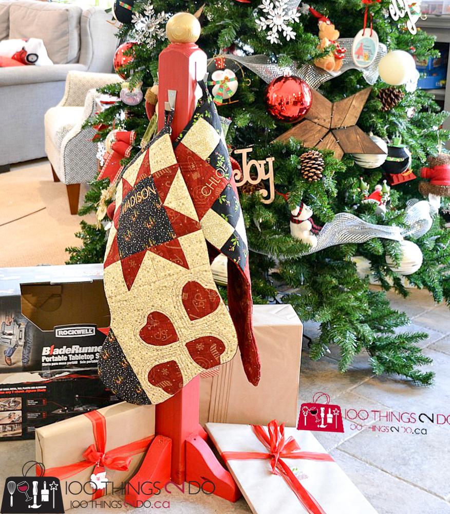 20 Simple Christmas DIYs, stocking post, stocking hanger, Christmas DIY, Easy Christmas crafts, DIY Christmas decor