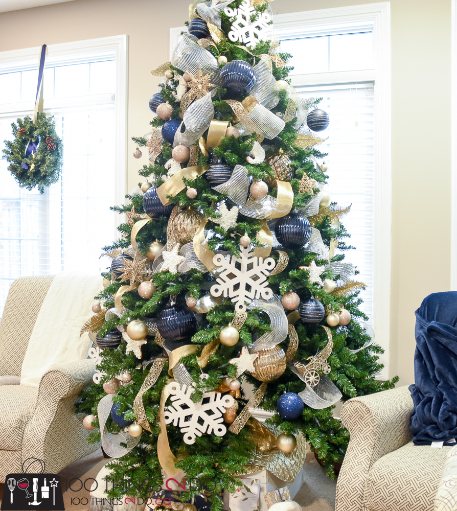 Christmas Tree Done: Christmas Tree 2017 - Navy, Gold And White