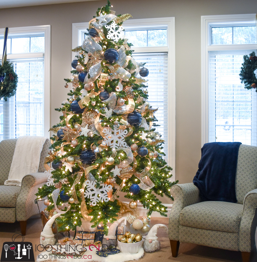 Christmas tree 2017, Christmas tree, navy and gold Christmas tree