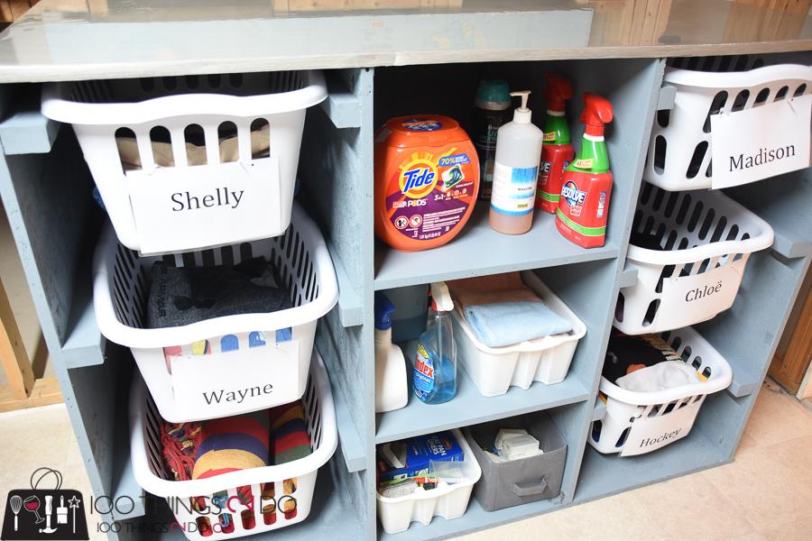 Laundry room, laundry dresser, folding table, laundry basket storage, laundry room organization