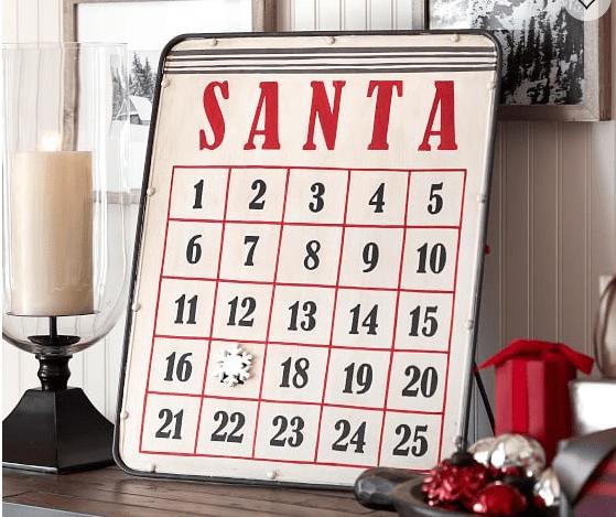 Santa magnetic advent calendar, advent calendar, DIY advent calendar, M-D Building Products, Pottery Barn Advent Calendar