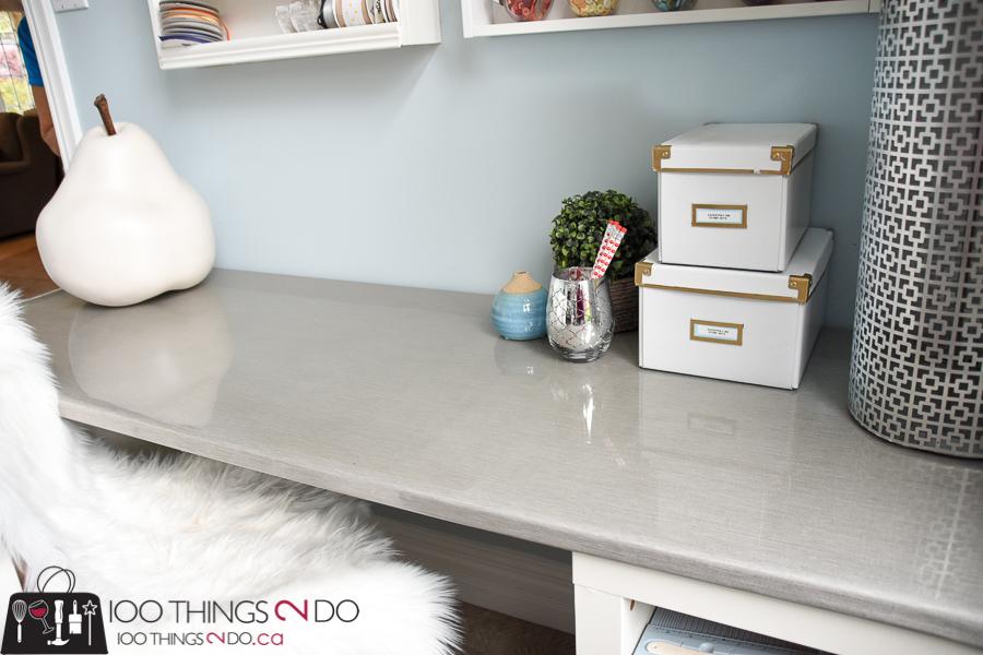 grasscloth desk, epoxy desk top, resin, resin desk top, Enviro Tex Lite, desk makeover, craft desk, desk surface