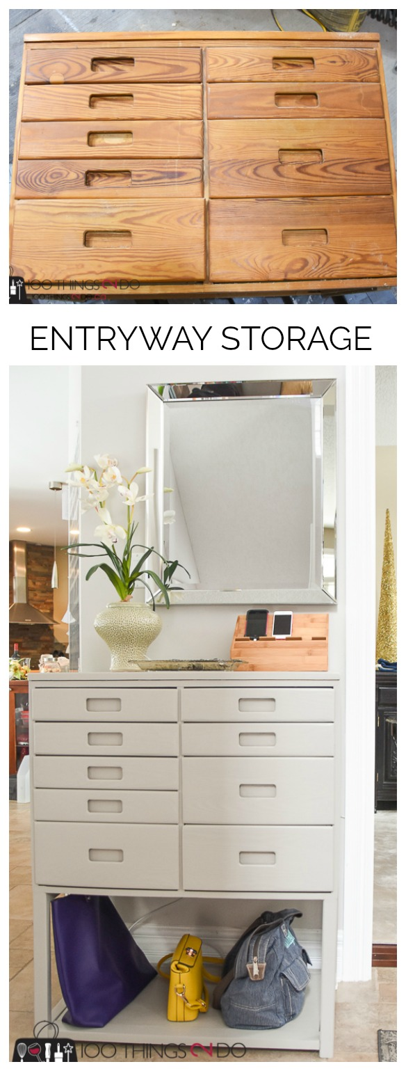 Entryway table, hall table, entryway organization, entryway storage, hall organization, hall storage, repurposed dresser