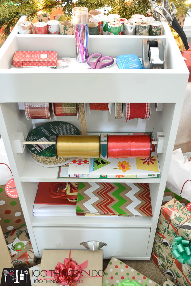 10 DIY Furniture Projects for Beginners, DIY furniture, beginner builds, easy DIY furniture, rolling cart, gift wrap card, gift wrap caddy, gift wrap storage