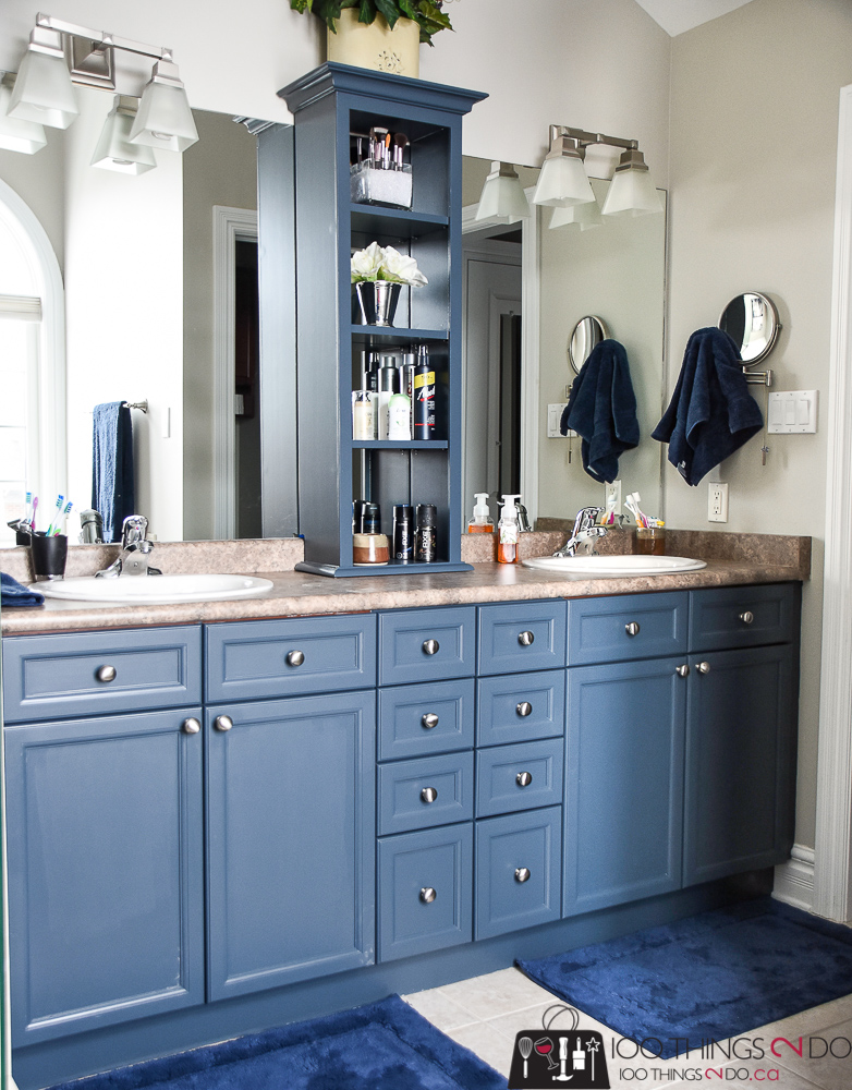 Bathroom makeover, painting bathroom cabinets, navy bathroom cabinets