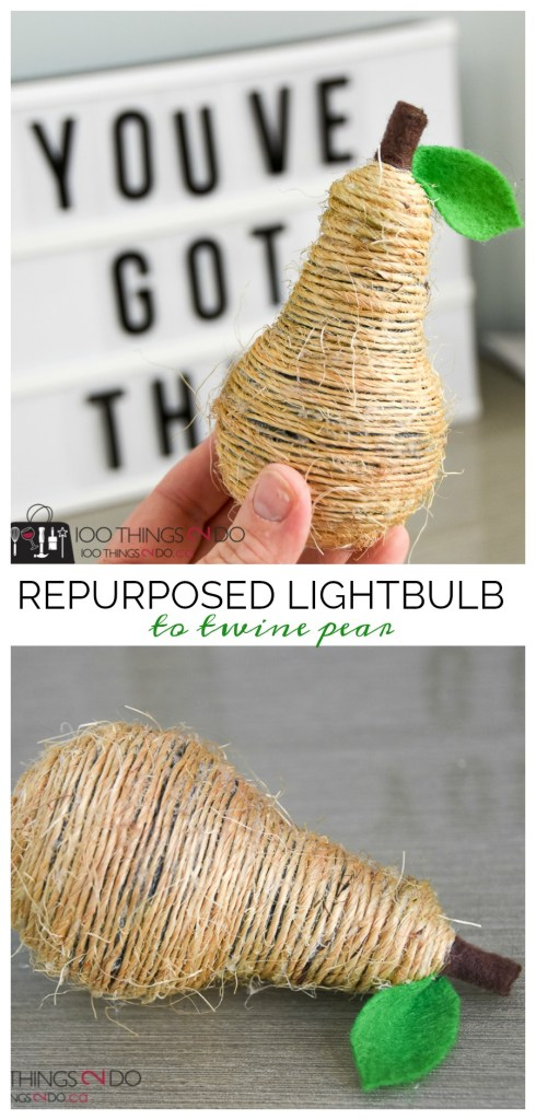Repurposed lightbulb, upcycled lightbulbs, pear decoration, DIY pear, twine pear, repurposed lightbulb projects