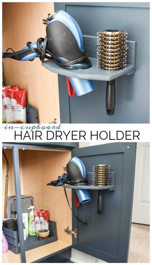 DIY hair dryer holder, in-cupboard hair dryer holder, hair dryer rack, hair dryer storage, bathroom cabinet organization