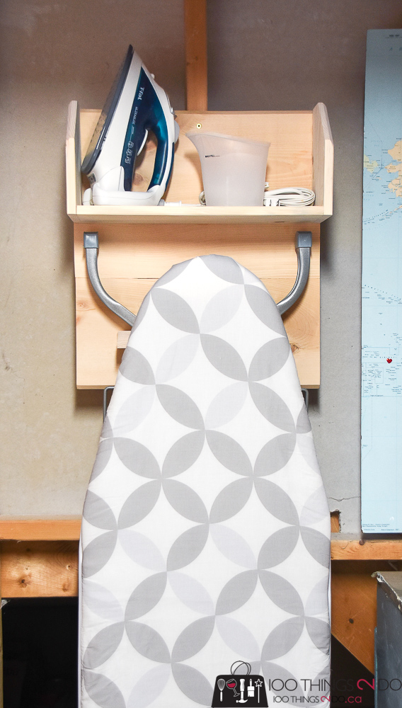 Ironing board storage, ironing board rack, laundry room organization, ironing board DIY