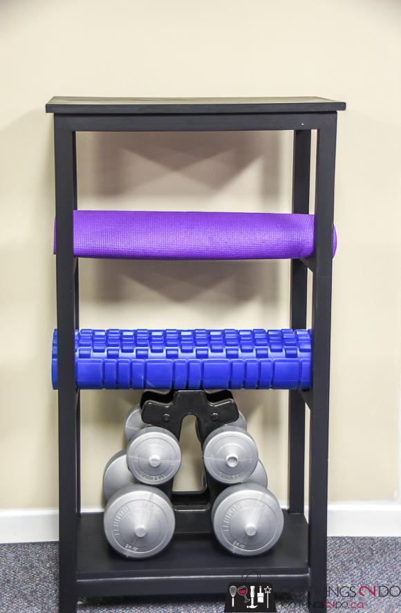 Yoga mat storage, yoga mat rack, treadmill table, home gym organization, home gym essential, gym organization