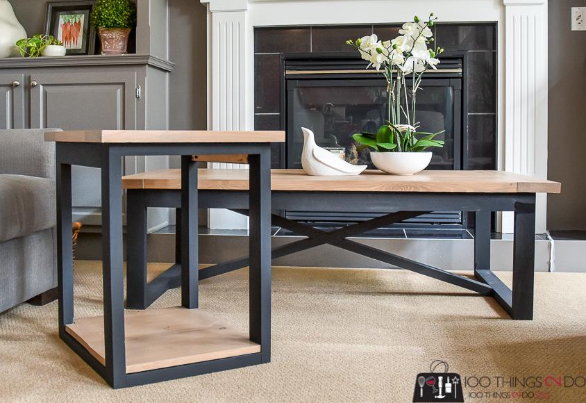 rustic industrial side table 100