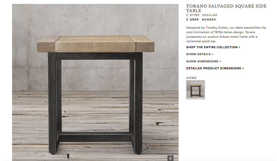 Restoration Hardware Torano square side table