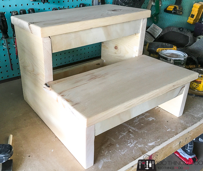 Simple step stool, DIY step stool, scrap wood step stool, stool, step