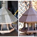 Birdhouse makeover, bird feeder, giant bird feeder, ornate bird feeder, bird feeder repairs, bird feeder makeover