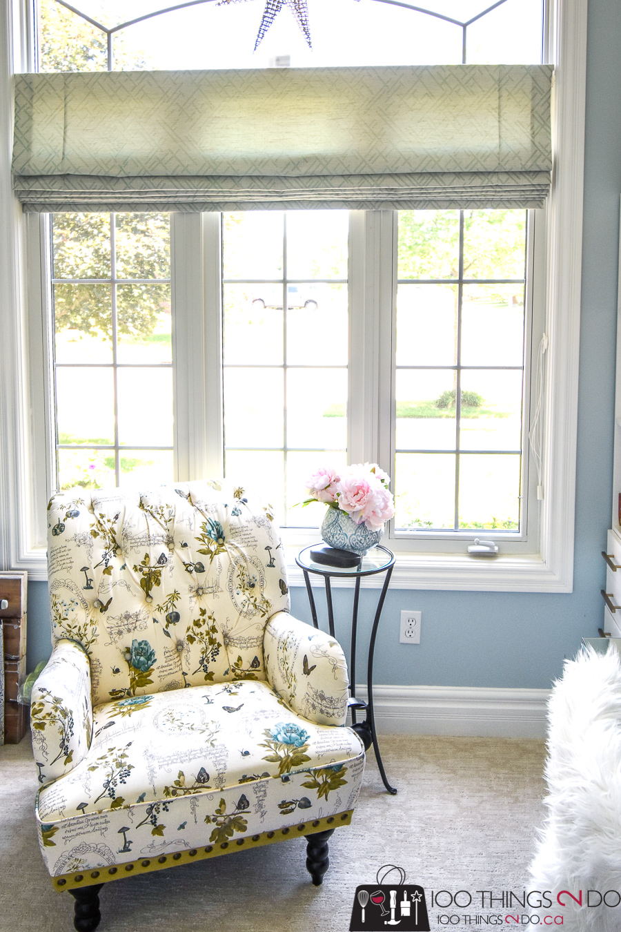 Home office, feminine home office, home office makeover, blue home office