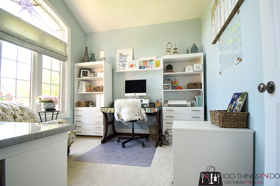 Home office, feminine home office, craft room, summer shower Benjamin Moore, home office makeover, blue home office