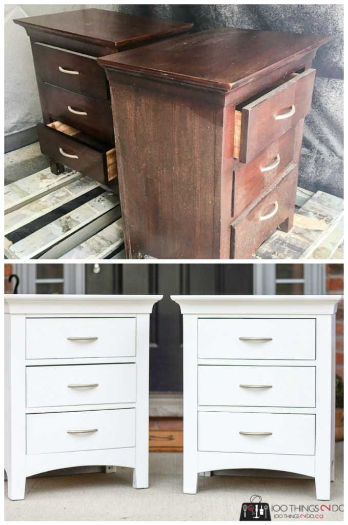 Boring brown to bright white nightstands, nightstand makeover, bedside table makeover, white nightstand, white bedside table, furniture refinishing, painted furniture