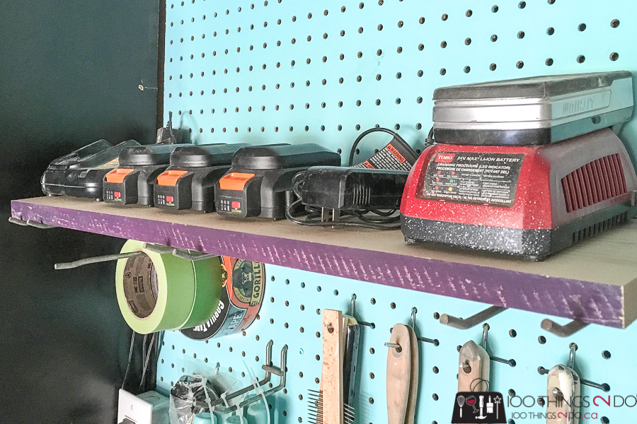 Workshop organization, power tool batteries, battery charging station, organized workshop