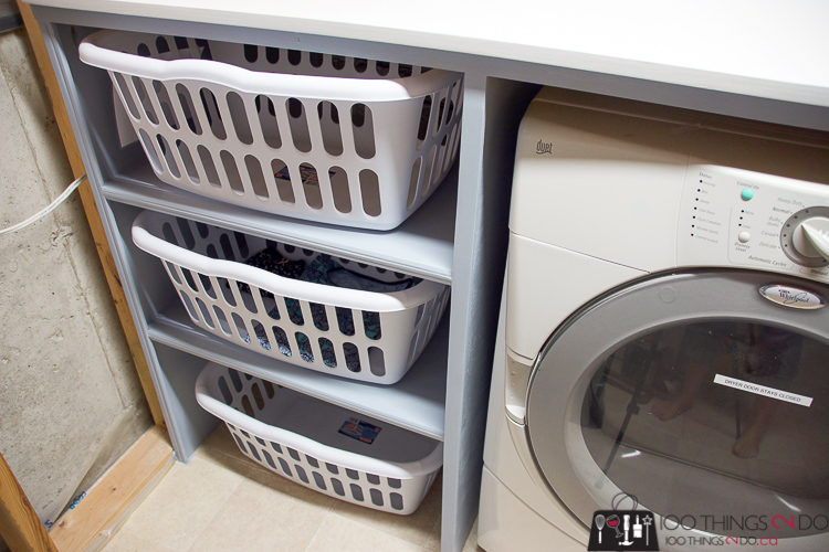 Laundry folding table, table over washer & dryer, folding counter, counter over washer, Laundry room storage