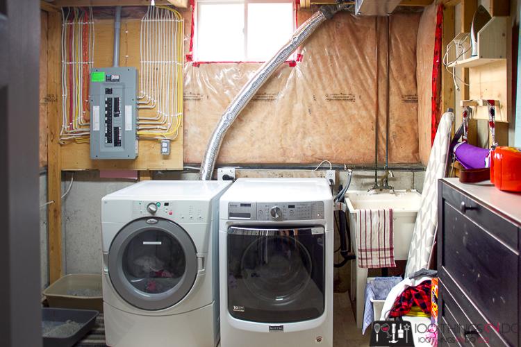 unfinished laundry room, basement laundry room