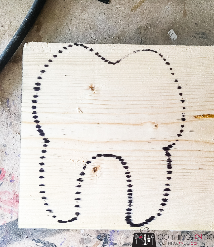 outline of a tooth on a piece of wood, Tooth Fairy Box
