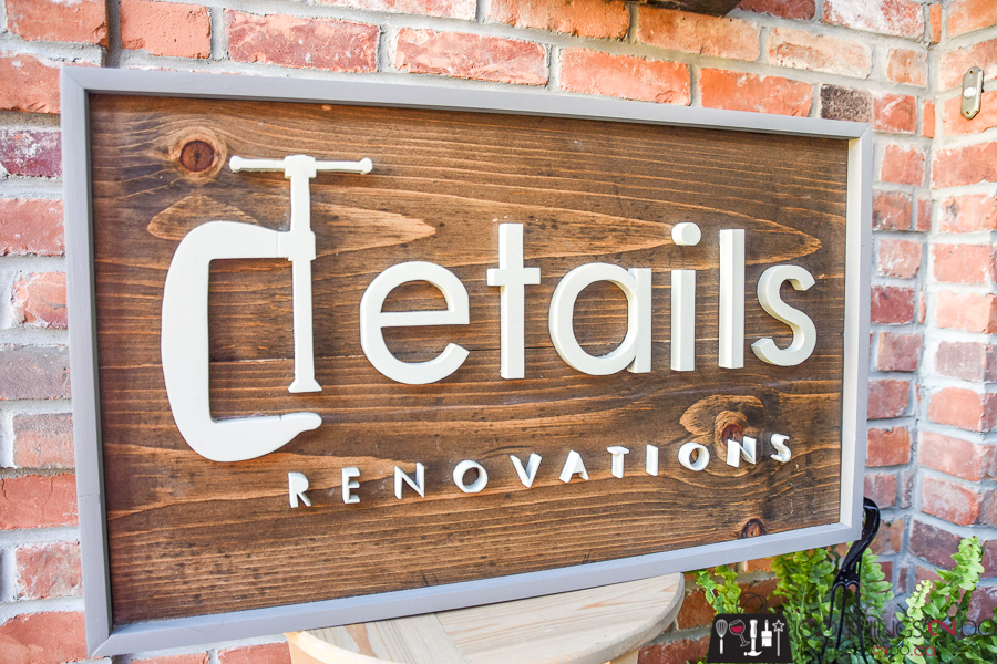 Scroll saw sign, business logo sign, wood sign made with scroll saw, details renovations, company logo sign, business logo sign