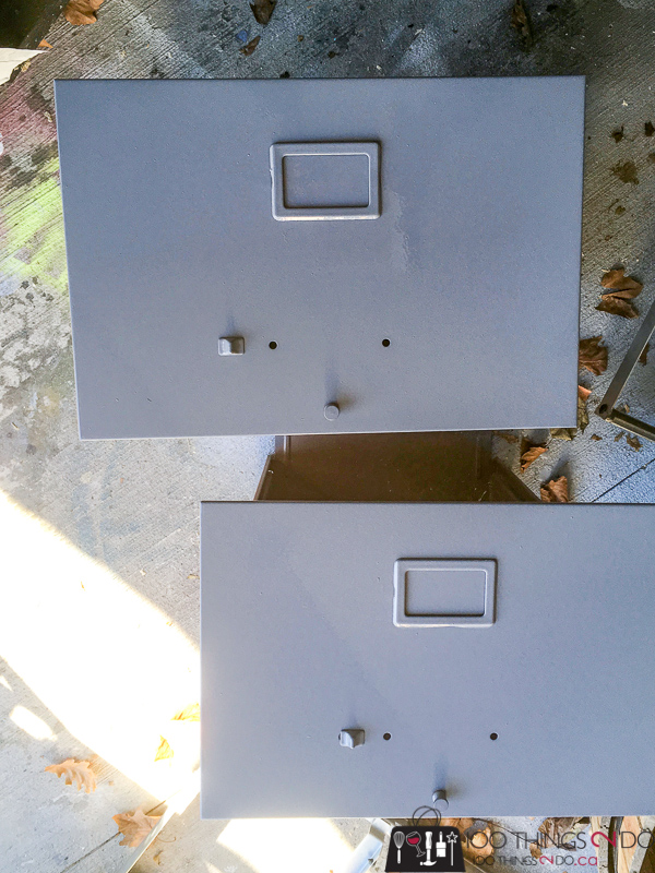 primed drawers of filing cabinet