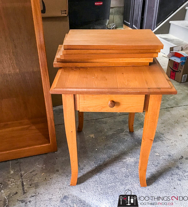 knotty pine nightstand, knotty pine side table