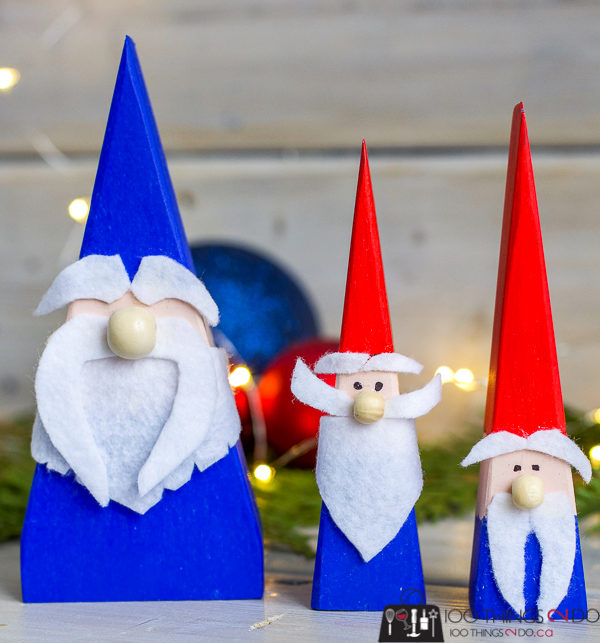 DIY gnomes, scrap wood gnomes, DIY tomte, DIY Nisse, wood gnomes, wood elves
