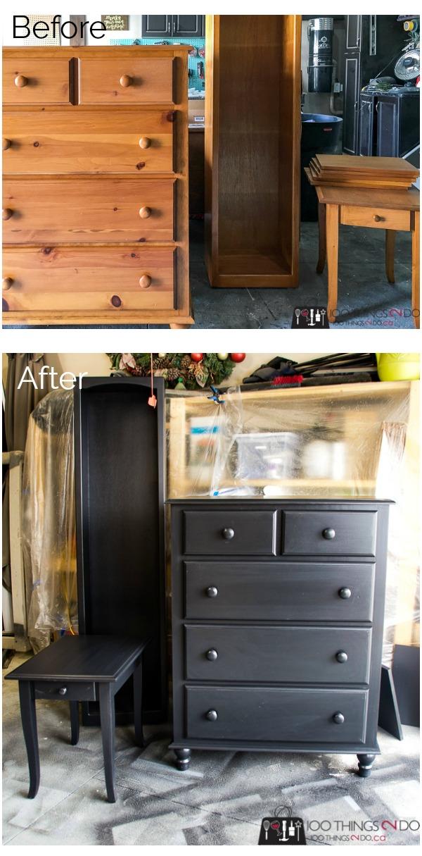 black bedroom set, black tallboy, black dresser, black bookcase, black nightstand, black bedroom set makeover