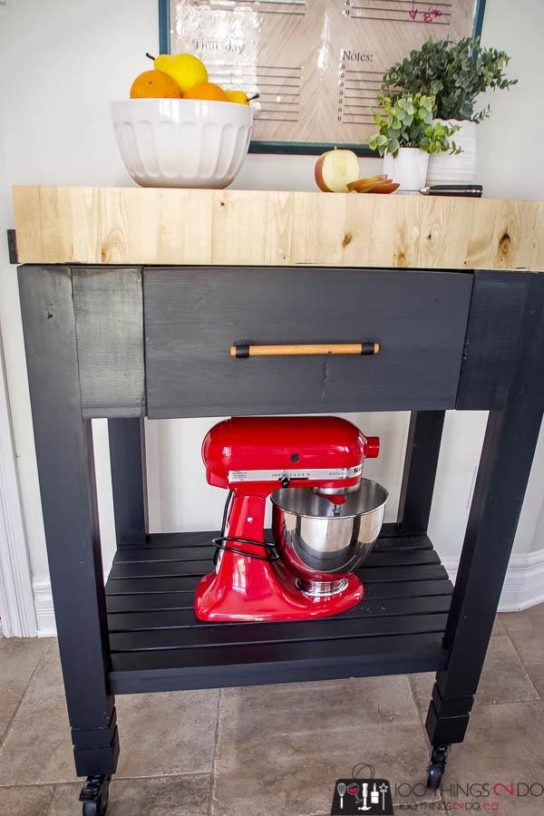 Portable kitchen island, kitchen island, portable prep station, prep station, endgrain butcher block, DIY kitchen cart