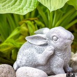 cement garden sculpture, cement rabbit, cement bunny, garden sculpture