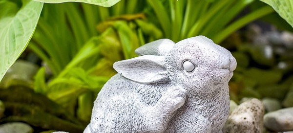 cement garden sculpture, cement rabbit, cement bunny, garden sculpture