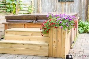 hot tub steps, steps for hot tub, 2 steps, steps with planter, DIY steps